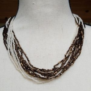 Vintage Seed and Bugle Bead Multi Strand Necklace